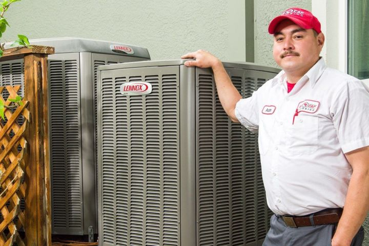 Service Technician with Air Conditioner